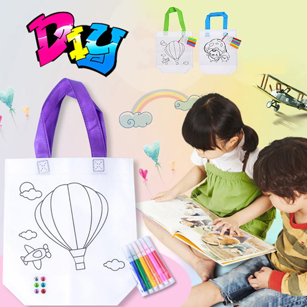 Non-woven Fabrics DIY Graffiti Non-woven Tote Bag Beads Color Filling Marker Pen Kid Education Toy For Kids