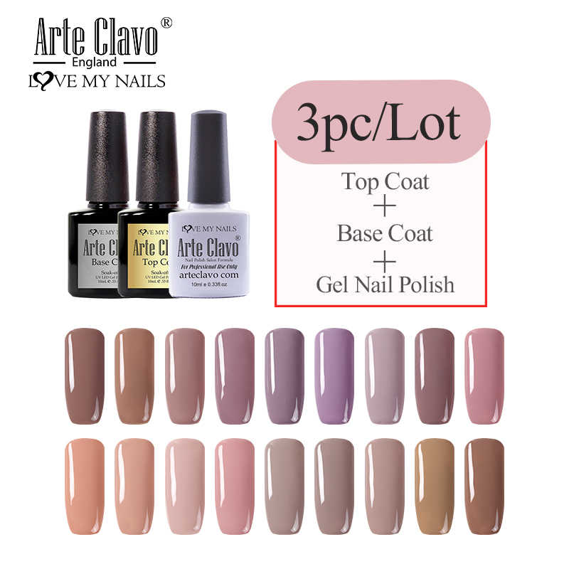 Seni Clavo 10 Ml Nail Gel Set 3 Pcs/lot Top Base Coat Nude Warna Seri Rendam Off Gel Varnish Hybrid tahan Lama UV Nail Art Kit