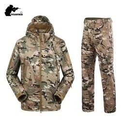Militaire TAD Camouflage Haai Huid Soft Shell Tactical Pakken Winter Herfst Waterdichte Fleece Combat Gear Mannen kleding pak BF05