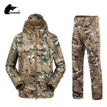 Military TAD Camouflage Shark Skin Soft Shell Tactical Suits Winter Autumn Waterproof Fleece Combat Gear Men clothing suit CY05