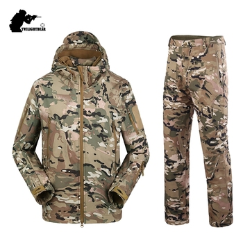Military TAD Camouflage Shark Skin Soft Shell Tactical Suits Winter Autumn Waterproof Fleece Combat Gear Men clothing suit AY05