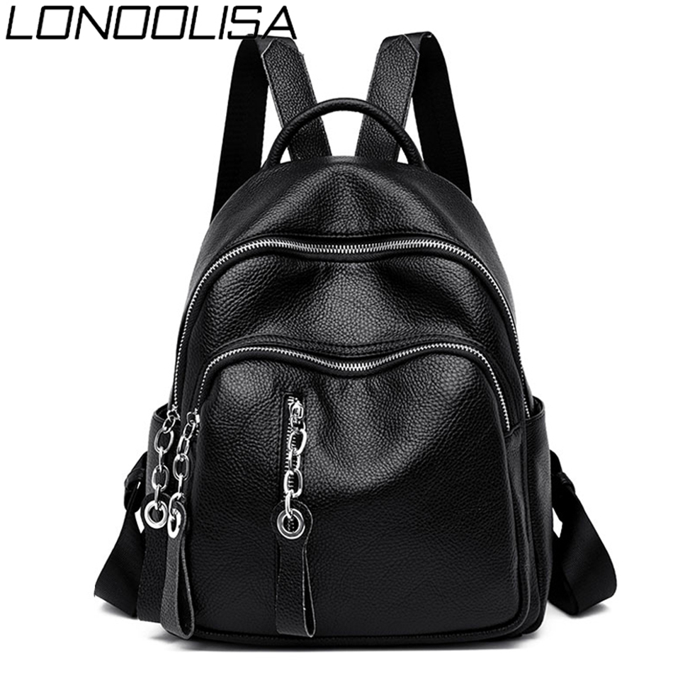 LONOOLISA 2019 Women Leather Zipper Backpack Female Shoulder Bag Sac A Dos Ladies Bagpack Mochilas School Bags For Teenage Girls
