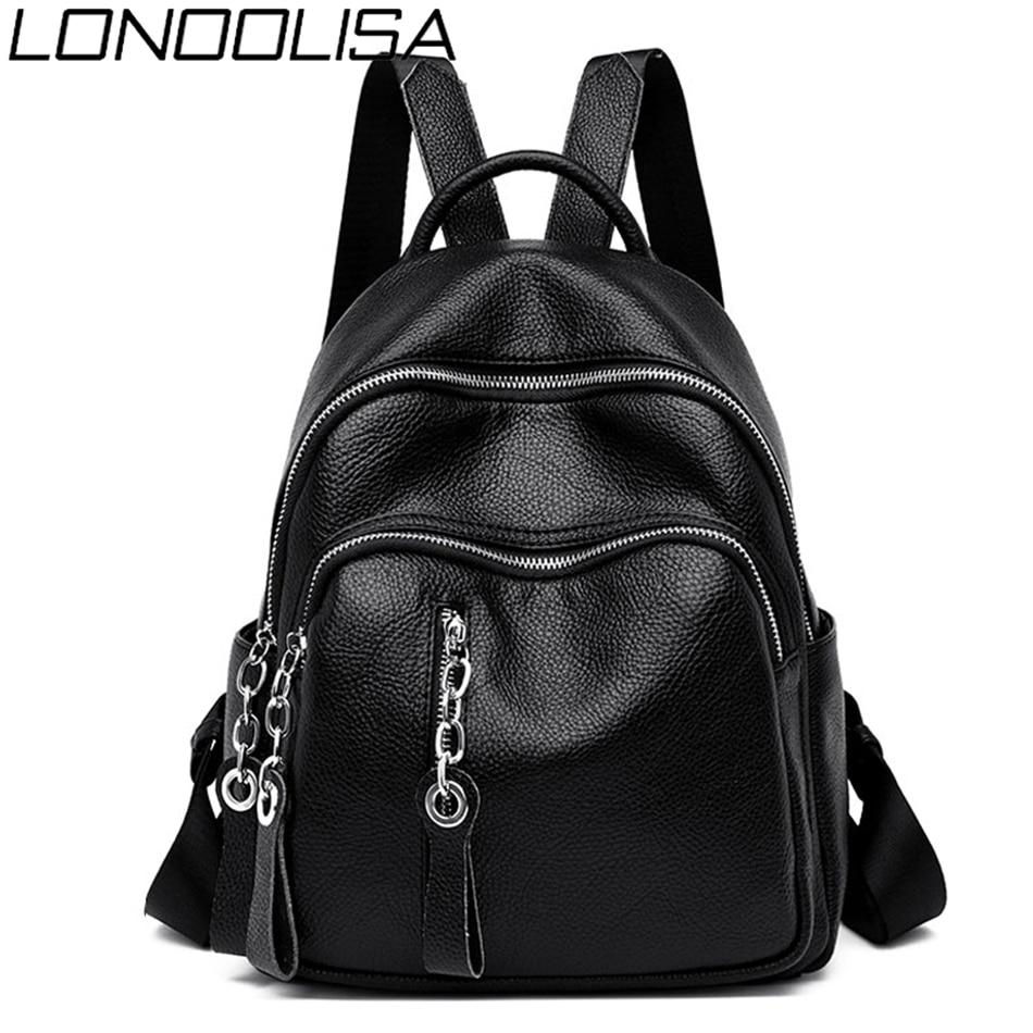 LONOOLISA 2019 Women Leather Zipper Backpack Female Shoulder Bag Sac A Dos Ladies Bagpack Mochilas School Bags For Teenage Girls