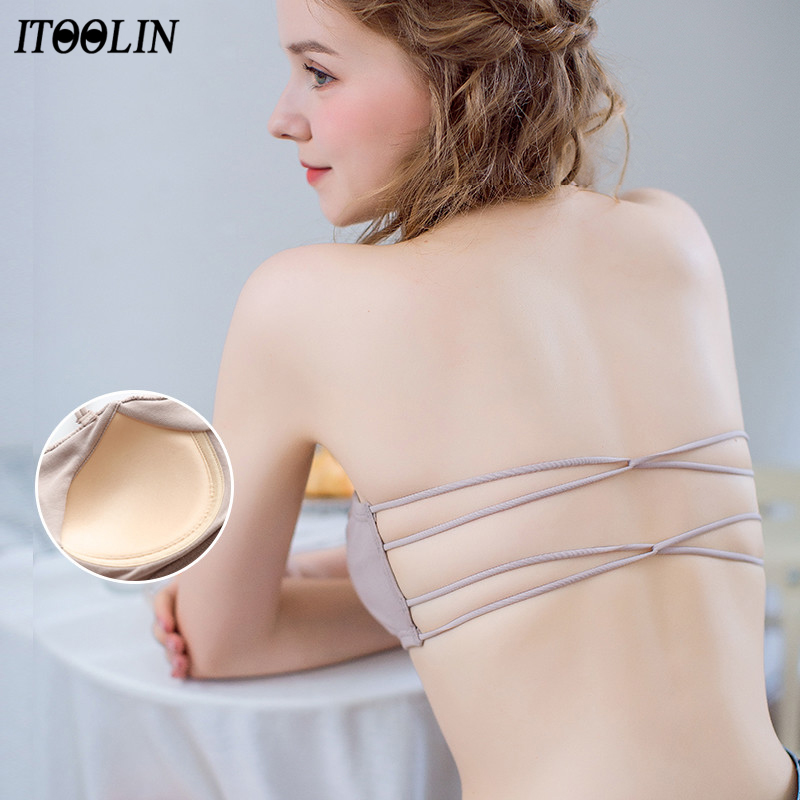 ITOOLIN Pure Cotton Sexy Back Underwear Bra Cross Belt Chest Cushion Summer Women Tube Top Sudents Holiday Beach Bra 2020