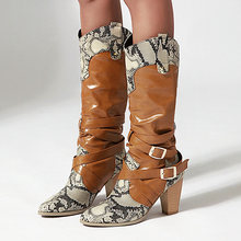 Sgesvier Snake Print Knee High Boots for Woman Round toe Square Heel High Heels Thigh High Boots Fur Warm Martin Boots Botas(China)