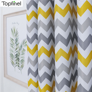 Image 1 - Topfinel Geometric Wave Blackout Curtains For Living Room Modern Printed Yellow Blue Window Treatment Drapes Bedroom Curtains