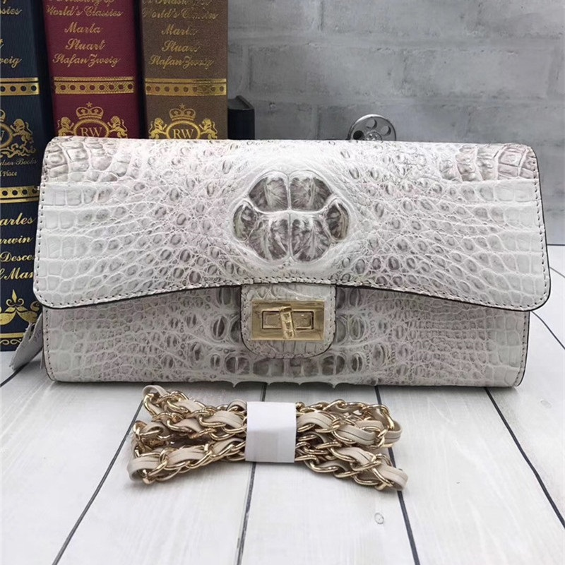 Chic Genuine Crocodile Skin Women Thin Flap Purse Authentic Alligator Leather Lady White Sling Bag Female Shoulder Messenger Bag