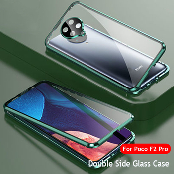 Metal Magnetic Adsorption Case For Pocophone F2 Pro Case Double-sided Tempered Glass Cover On For Xiaomi Pocophone Poco F2 Pro