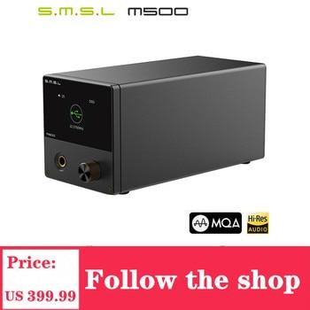 SMSL M500 Player  MQA USB DAC Headphone Amplifier ES9038PRO Audio Decoding XMOS XU216 DSD512 32Bit/768Khz USB/OPT/COAX input headphone amplifier dac decoder usb input fber output coaxial input vt1630 tpa6120a2 cs4398 chip driving 16 600 ohms