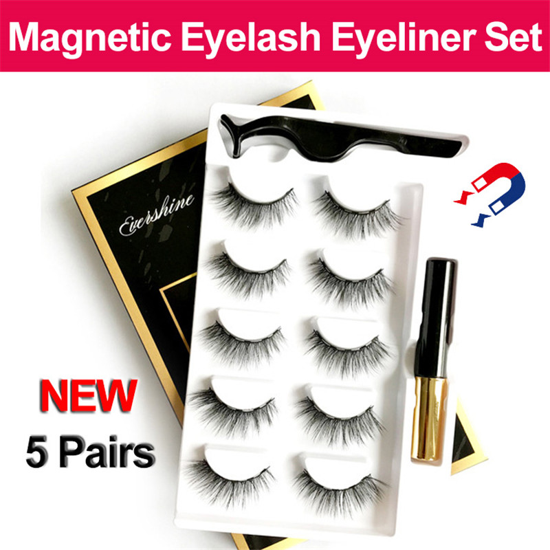 5 Pairs/set Magnetic False Eyelashes & Magnetic Liquid Eyeliner & Tweezer Multiple Styles Natural Eyelashes Set Big Eye Tools