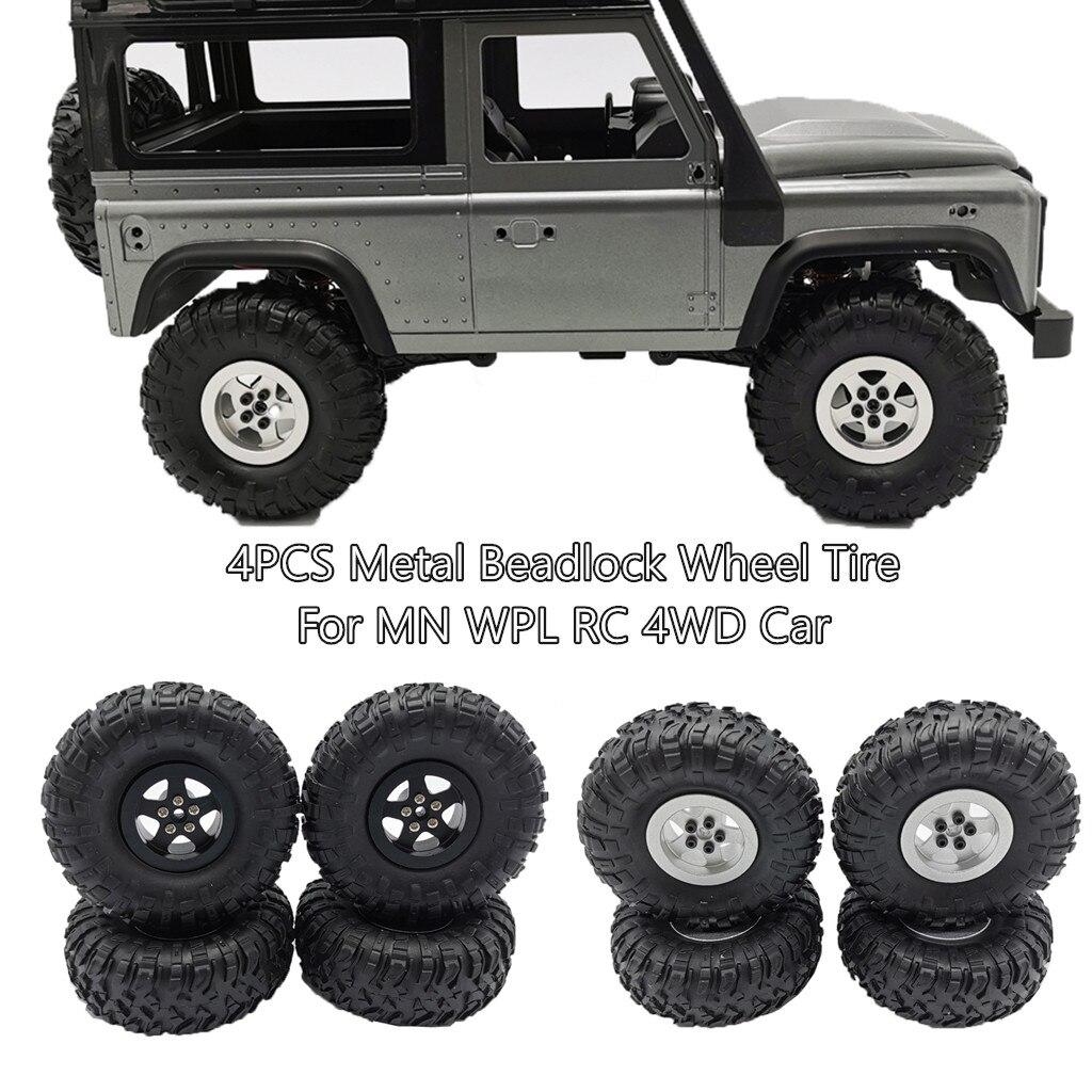 4PCS Metal Beadlock Wheel Rim And Tire For MN90/99/45 WPL C24 C34 Q65 RC 4WD Car Kids Toys Brinquedos Juguetes игрушки New