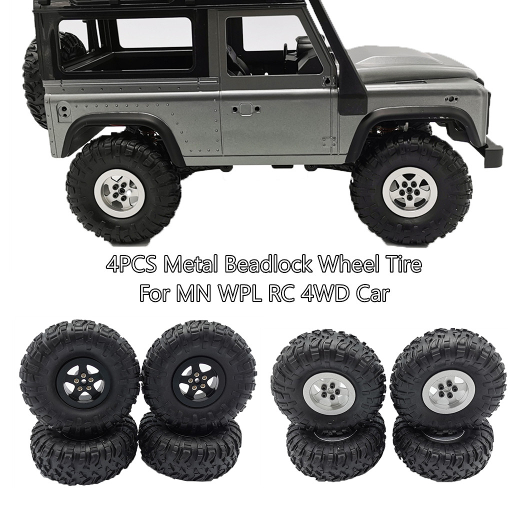 4PCS Metal Beadlock Wheel Rim And Tire For MN90/99/45 <font><b>WPL</b></font> <font><b>C24</b></font> C34 Q65 RC 4WD Car kids toys brinquedos juguetes игрушки New image