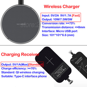 Image 4 - Qi Wireless Charging for Xiaomi Redmi Note 9S Qi Wireless Charger+USB Type C Receiver Nillkin Adapter Gift TPU Case