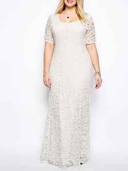 цена на Plus size lace Formal dress Short sleeves Evening dress temperament U-neck Prom dress evening dress Back-zipper  Robe De Soriee