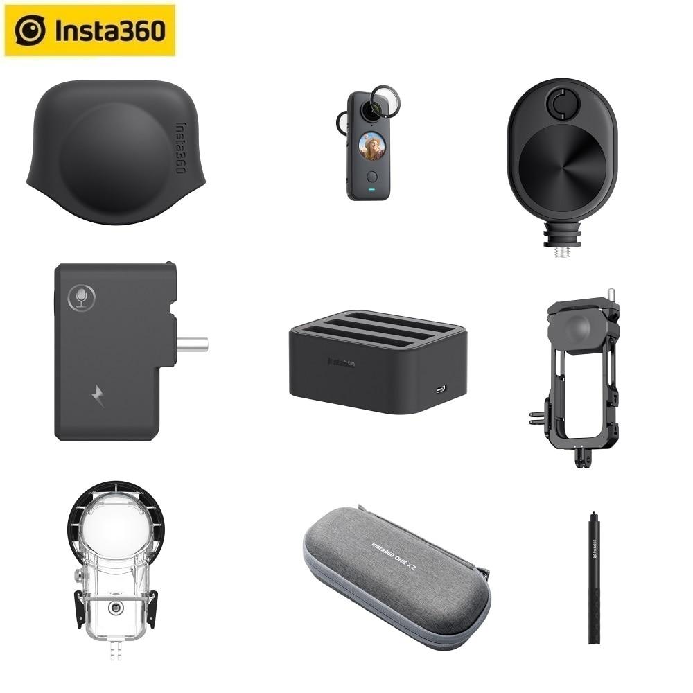 Крышка объектива Insta360 ONE X2/защита объектива/зарядное устройство/адаптер микрофона/чехол для дайвинга/чехол для переноски оригинальные аксе...