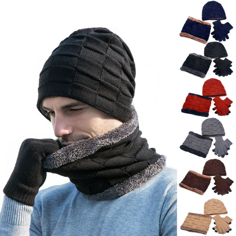 3Pcs Men Women Beanie Hat + Gloves + Scarf Neck Warmer Winter Knit Sets Fashion