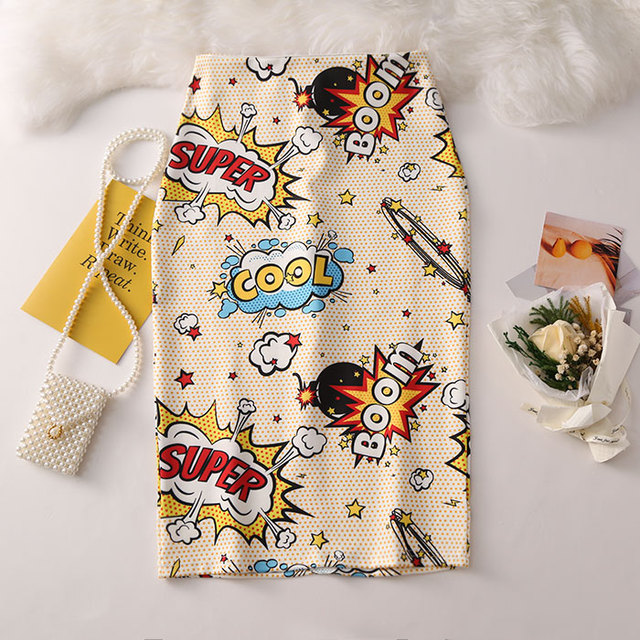 Women's Pencil skirt 2019 New Cartoon Mouse Print High Waist Slim Skirts Young Girl Summer Large Size Japan Female Falda GD018 1
