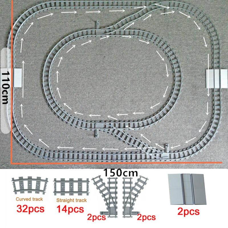 Train Flexible Tracks City Trein Track  Rail Straight Curved Rails Building Block Bricks Model Compatible LegoINGlys Train