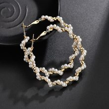 ZORCVENS New Pearl Earrings For Women Bohemian Big Geometric Drop Earring Brincos Female Fashion Jewelry