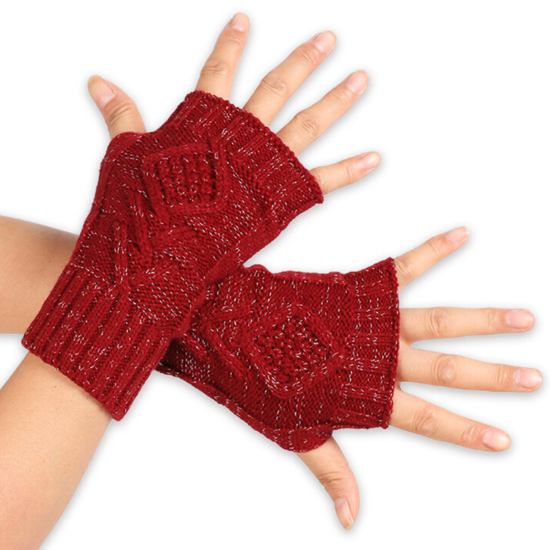 1Pair Women Autumn Winter Warm Knitted Arm Fingerless Gloves Long Stretchy Mittens Men Hand Arm Warm Gloves