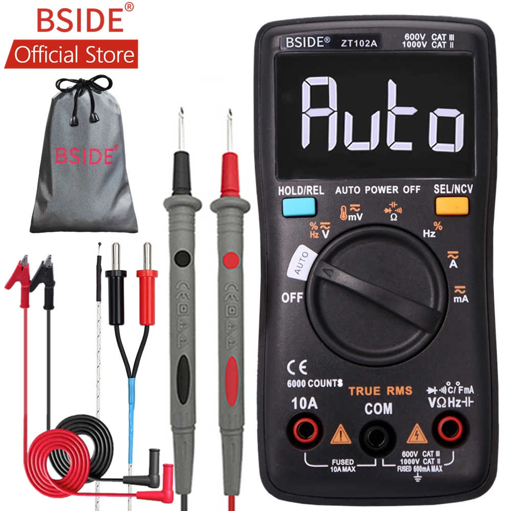 BSIDE ZT102A EBTN, multímetro Digital LCD TRMS CA/DC, medidor de capacitancia de resistencia de diodo de frecuencia, temperatura, ohmios