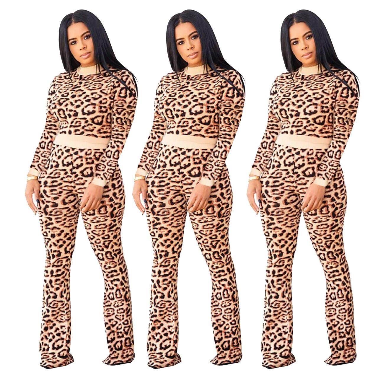 Leopard Fitness Fashion Matching Set Women Sexy Bodycon Long Sleeve Bodysuit And Pants 2 Piece Outfits