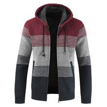 Мужской свитер, пальто, зима, толстый теплый кардиган с капюшоном, джемперы, мужские, в полоску, с шерстяной подкладкой, на молнии, флисовые пальто для мужчин