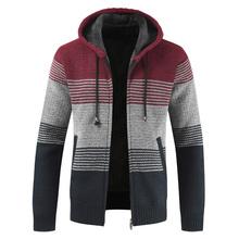Sweter płaszcz mężczyźni 2020 zima gruby ciepły kardigan z kapturem bluzy mężczyźni wełniany w paski Liner Zipper płaszcze polarowe mężczyźni tanie tanio HANQIU Standardowy wełny Skręcić w dół kołnierz Na co dzień Men Sweater Na krzyż Mieszkanie dzianiny Sweatercoat