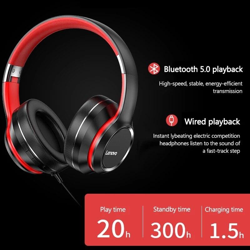 Lenovo HD200 Bluetooth Draadloze Stereo Hoofdtelefoon BT5.0 Lange Standby Leven Met Noise Cancelling Voor Xiaomi Iphone Lenovo Headset 2