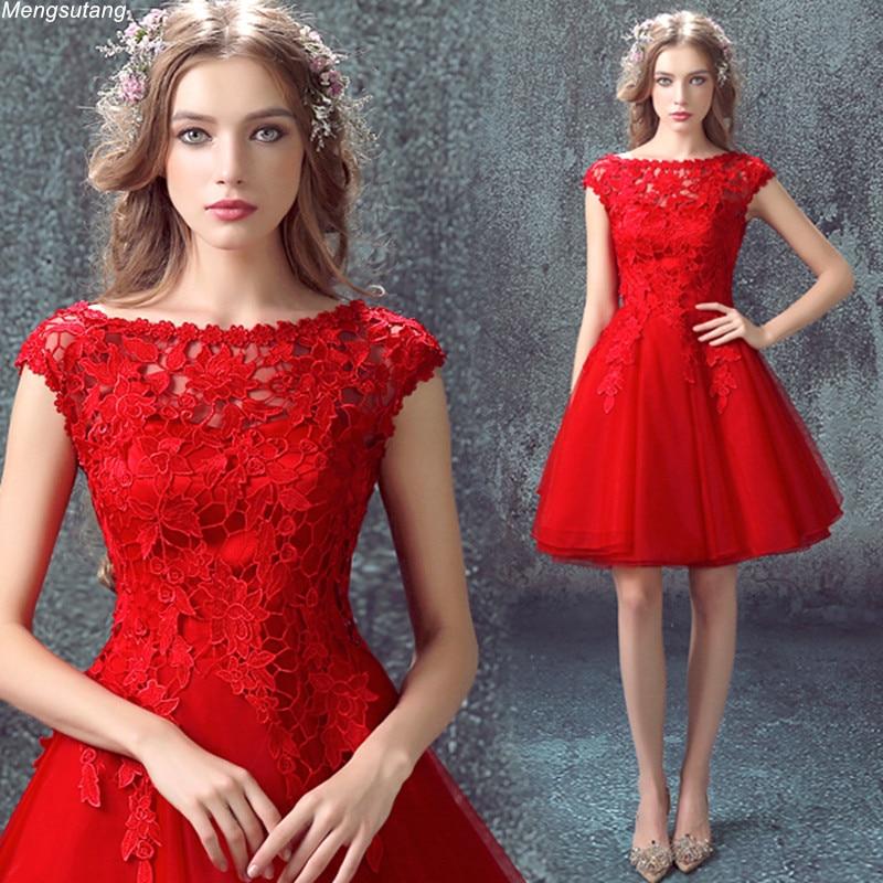 Robe De Soiree Short Lace Plus Size Red Elegant Evening Dress Formal Bride Wedding Banquet Vestidos De Festa Party Prom Dress