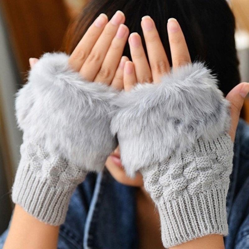 Women Cute Fur Fingerless Gloves-Knitted Hand Warmer Rabbit Fur Gloves Plush Half Finger Gloves Knitted Winter Warm Gloves