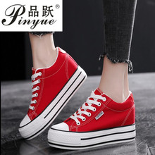6CM High Heels Platform Shoes Woman Black red Spring Summer Women Sneakers Lace