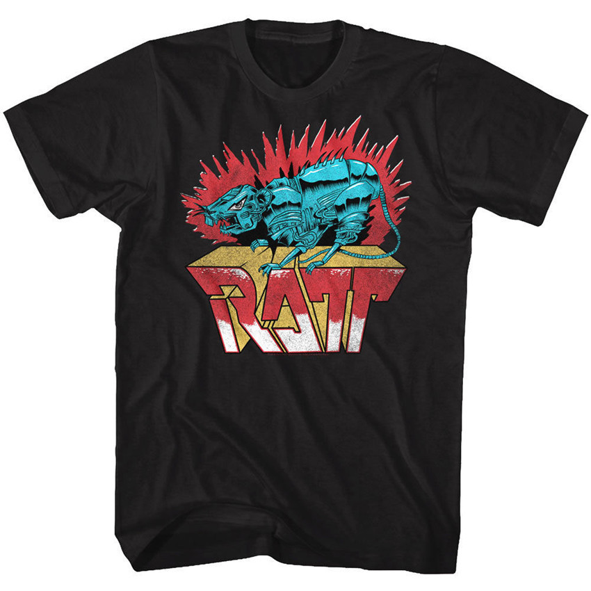 <font><b>Ratt</b></font> Rock Band Robot Rat <font><b>Men'S</b></font> <font><b>T</b></font> <font><b>Shirt</b></font> Metal Album Cover Art Concert Tour Merch <font><b>Men</b></font> Clothes Tee <font><b>Shirt</b></font> image