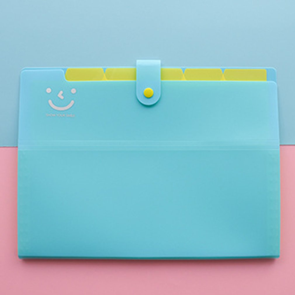 A4 12 Grid Multi-layer Folder Expanding File Folders Document Organizer Cute Smile Organ Bag Student Test Paper Clip