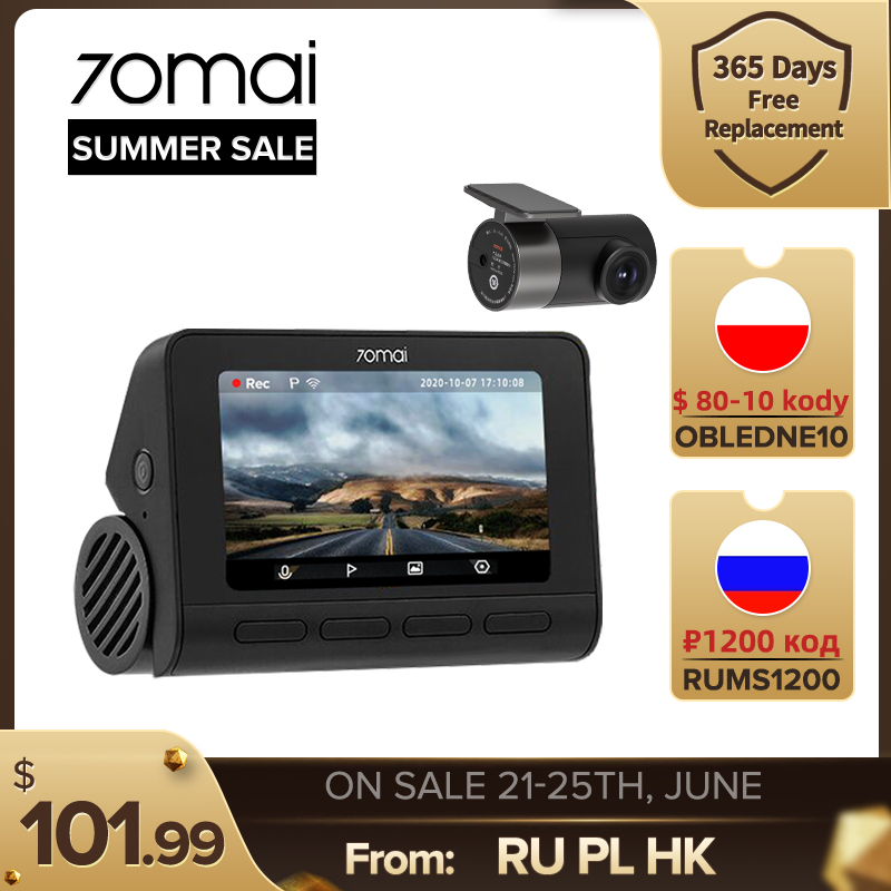 Новый 70mai Dash Cam A800S автомобиль 4K DVR 2021 умный видеорегистратор Встроенный GPS ADAS UHD изображения SONY IMX415 140FOV 24 часа в сутки для парковочной системы ...