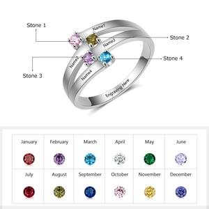 Image 2 - 925 סטרלינג כסף ידידות ומשפחה טבעת לחרוט 4 שמות DIY אישית אבן המזל מתנה עבור אמהות (JewelOra RI102510)