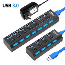 USB 3.0 Hub 5Gbps High Speed Multi USB Splitter 3 Hab Use Power Adapter 4/7 Port Multiple Expander Hub With Switch For PC Laptop