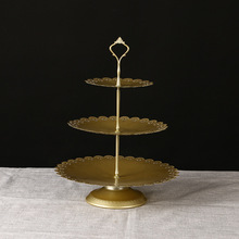 European Style Cake Set with Lace and Handicraft Cake Rack Wedding Decoration 1 or 3 Tier Cupcake Display Gold Metal Cake Stand