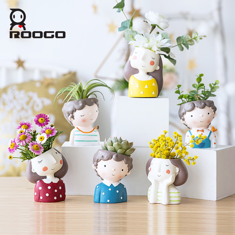 Image 2 - Roogo Cute Girl FlowerPot Modern Succulent Pot Home Garden Plant Pot For Balcony Decoration Orchid Pots Planter Cachepot-in Flower Pots & Planters from Home & Garden