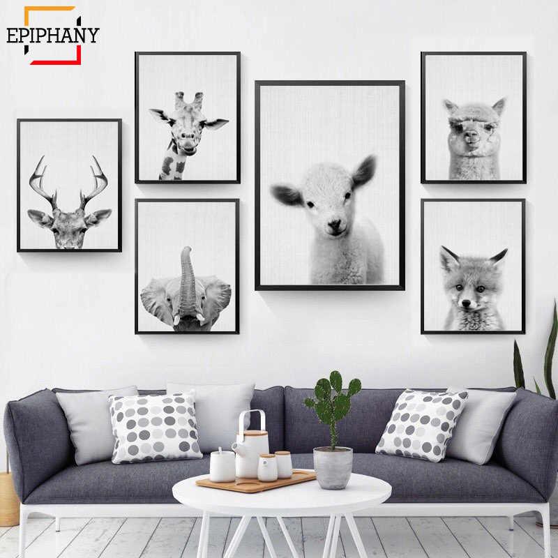 ผ้าใบพิมพ์ภาพวาดNordicสไตล์สีดำและสีขาวสัตว์โปสเตอร์และพิมพ์กวางยีราฟช้างWall Artเด็กภาพ