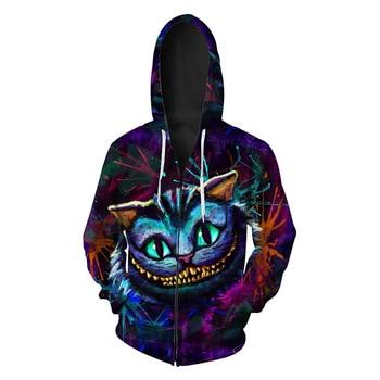 2019 New Ghost Cat Printed Men's Cardigan Hat Wear Fashion  Zipper Men's Wear Men's Sweatshirts Printing Blouse hoodies