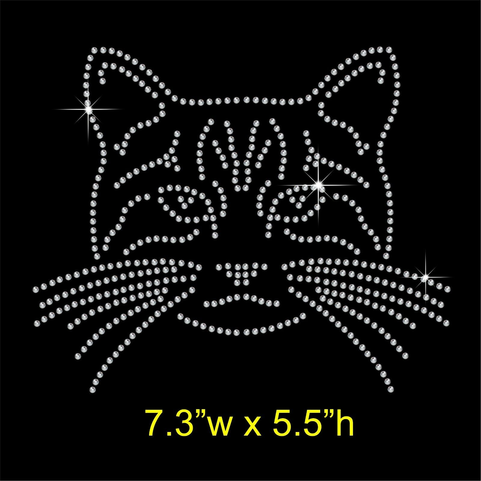 2pc lot Cat head sticker transfers design iron on transfer patches hot fix rhinestone transfer motifs fixing rhinestones in Rhinestones from Home Garden