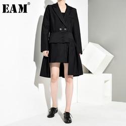 Женский ассиметричный костюм EAM, черная футболка в полоску с длинным рукавом и отложным воротником, на весну-осень 2020