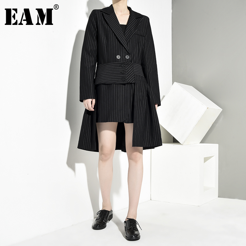 [EAM]  Half-body Skirt Striped Irregular Two Pieces Suit New Lapel Long Sleeve Black Women Fashion Spring Autumn 2020 JC5070