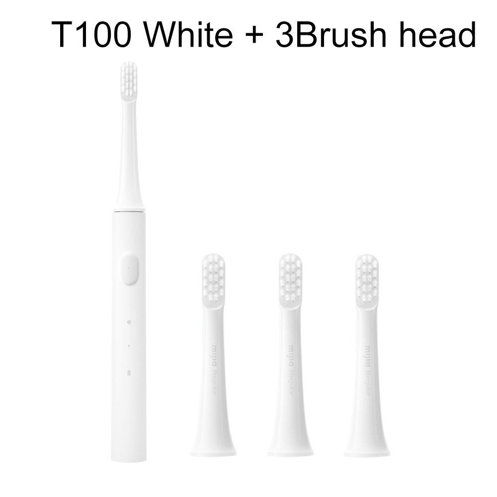 White Add 3 head-XIAOMI MIJIA Sonic Electric USB Waterproof Rechargeable Toothbrush