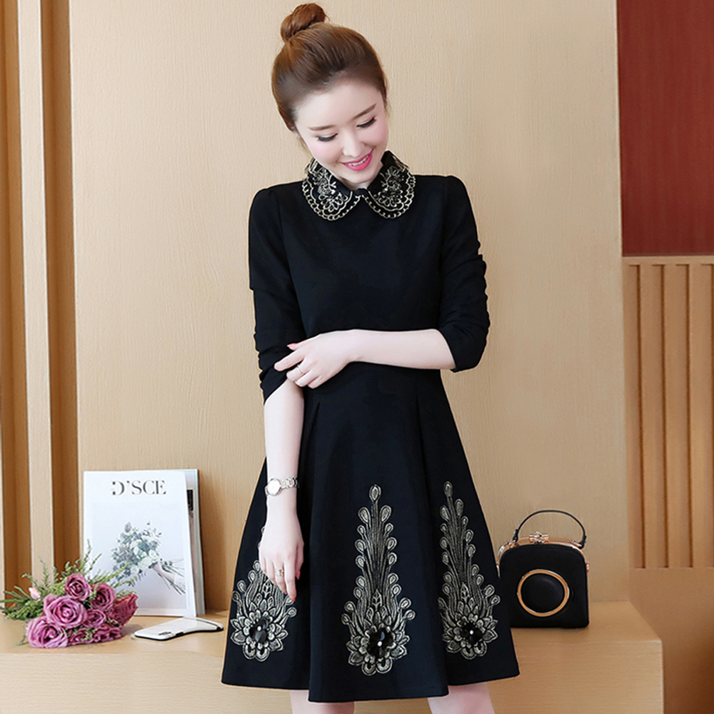 Spring and autumn new style Large size L 5XL women 39 s dress Elegant fashion embroidery bottoming dress in Dresses from Women 39 s Clothing