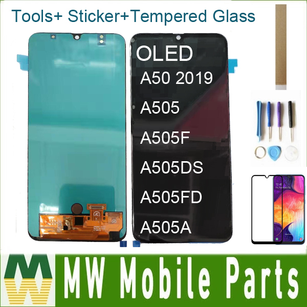 With Tempered Glass OLED For <font><b>Samsung</b></font> Galaxy <font><b>A50</b></font> 2019 A505 A505F A505DS A505FD A505A <font><b>LCD</b></font> Display Screen Touch Screen Digitizer image