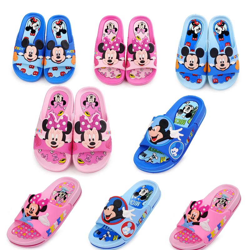 Mickey Slippers For Boy Girl Minnie Shoes 2019 Summer Todder Animal Kids Indoor Baby Slippers PVC Cartoon Kids Beach Slippers