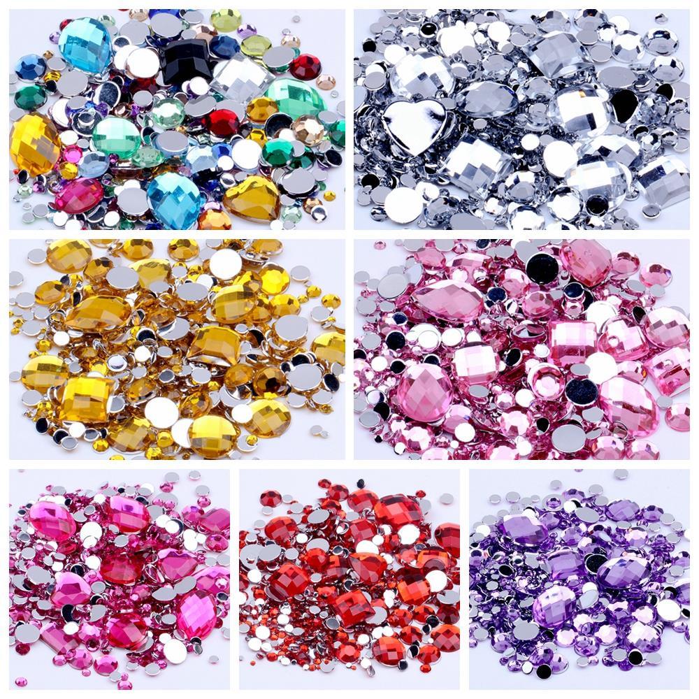 1000 Mixed Color Acrylic Flatback Round Rhinestone Gems 6mm Embellishments