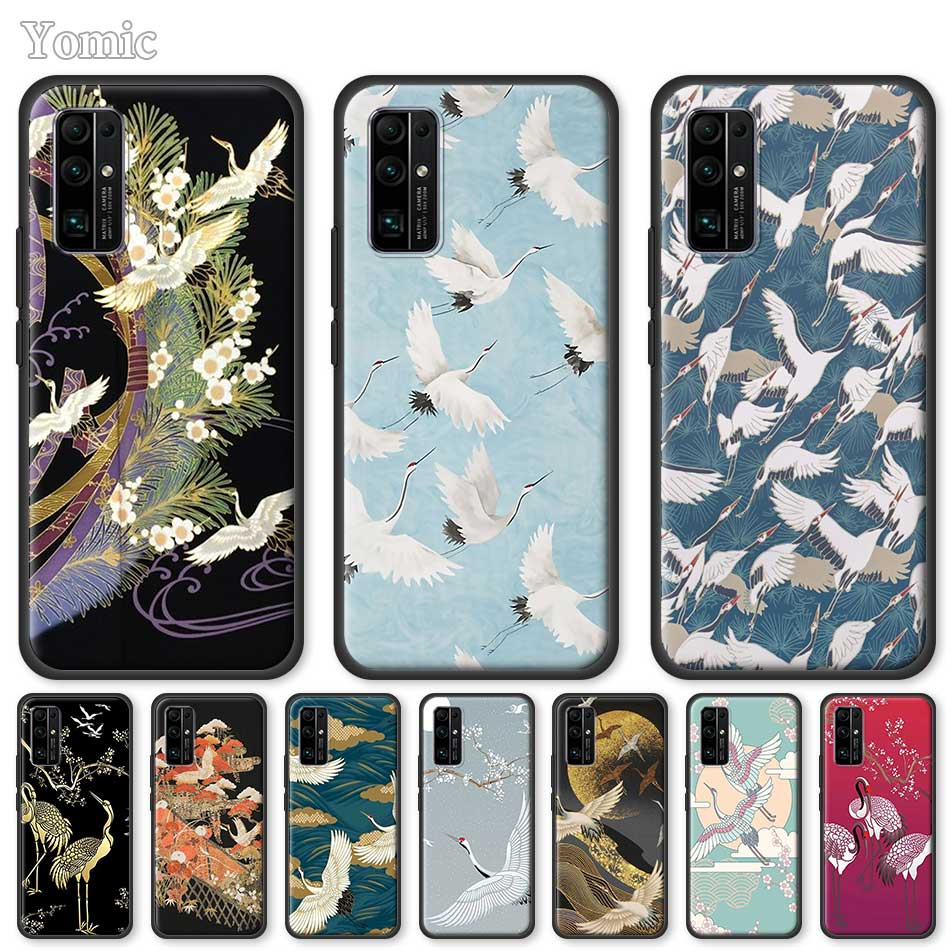 Soft Case For Huawei Honor 20 Pro 9C 9S 10X Max 8X 30 Play 9A Y6 Y9 Prime 2019 Tpu Black Cover Japanese Harmony Crane Unique